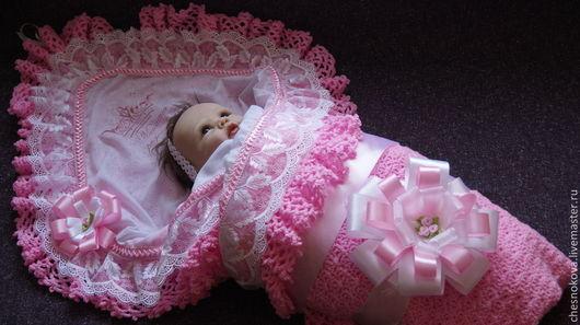 """Для новорожденных, ручной работы. Ярмарка Мастеров - ручная работа. Купить Уголок на выписку для новорожденного """"мамина радость"""". Handmade."""