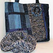 """Классическая сумка ручной работы. Ярмарка Мастеров - ручная работа Джинсовый комплект """"Зимний"""" - сумка, снуд, брошка. Handmade."""