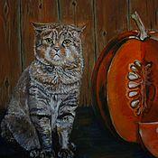 Картины и панно ручной работы. Ярмарка Мастеров - ручная работа Картина маслом Хозяин барин картина с котом 30 на 40см. Handmade.