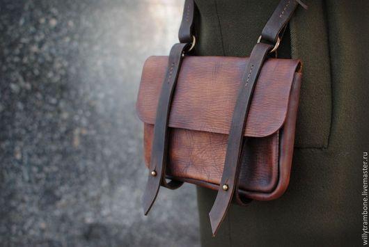 Женские сумки ручной работы. Ярмарка Мастеров - ручная работа. Купить маленькая. Handmade. Кожаная сумка, латунная фурнитура