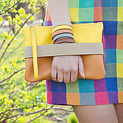 "Сумки и аксессуары handmade. Livemaster - original item Желтый клатч ""CarryMe"", оранжевая сумочка через плечо. Желтая сумка. Handmade."
