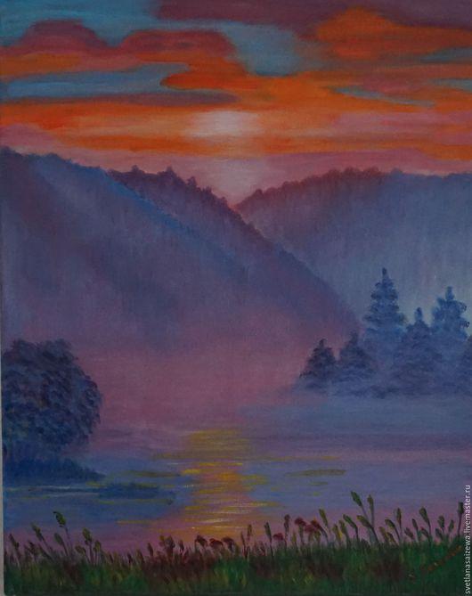 Пейзаж ручной работы. Ярмарка Мастеров - ручная работа. Купить Пейзаж 1. Handmade. Фиолетовый, творчество, бог, ландшафт, горы