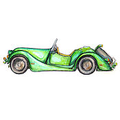 Картины и панно handmade. Livemaster - original item Retro car Green convertible Watercolour 21х30. Handmade.