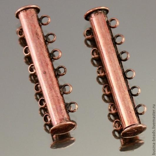 Магнитная замок слайдер на 6 нитей бусин из латуни с покрытием цвета медь для использования в качестве застежки в многорядных украшениях, колье и браслетах