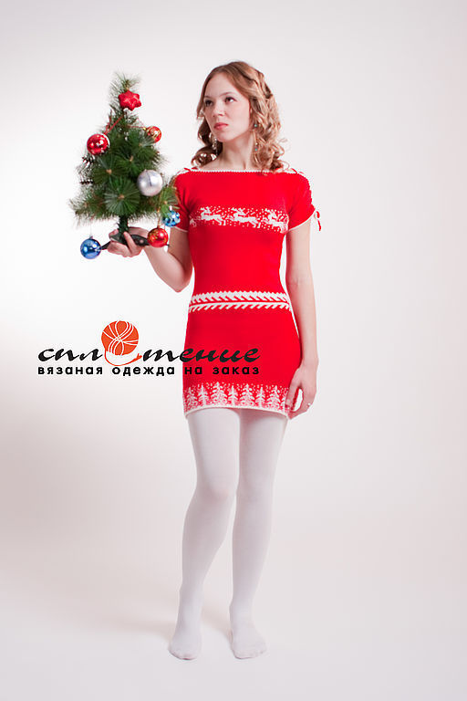 """Платья ручной работы. Ярмарка Мастеров - ручная работа. Купить Платье """"Новогодняя сказка"""". Handmade. Платье, Машинное вязание, шнуровка"""