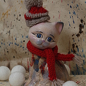 Подарки к праздникам handmade. Livemaster - original item Skier cat (ceramics). Handmade.