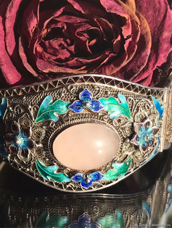 Винтаж: Браслет из серебра с эмалью и розовым кварцем, Винтажные браслеты, Москва, Фото №1
