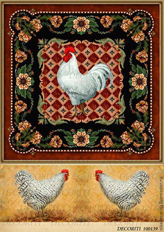 Декупаж и роспись ручной работы. Ярмарка Мастеров - ручная работа. Купить Петух в квадрате и курицы (D100139) - рисовая бумага, А4. Handmade.