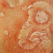 Картины и панно ручной работы. Ярмарка Мастеров - ручная работа Зимний сон. Сказочная картина. Девочка и лис.. Handmade.