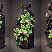 """Для дома и интерьера ручной работы. Ярмарка Мастеров - ручная работа Ваза """" зеленые орхидеи """". Handmade."""