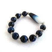 Украшения handmade. Livemaster - original item A bracelet made of beads: Agate blue-white bracelet. Handmade.