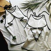 Одежда ручной работы. Ярмарка Мастеров - ручная работа Черно-белый топ с воланами. Handmade.
