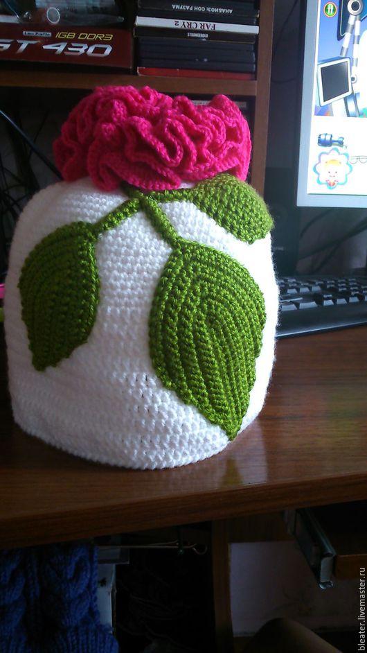 Для подростков, ручной работы. Ярмарка Мастеров - ручная работа. Купить шапочка крючком. Handmade. Белый, однотонный, цветы
