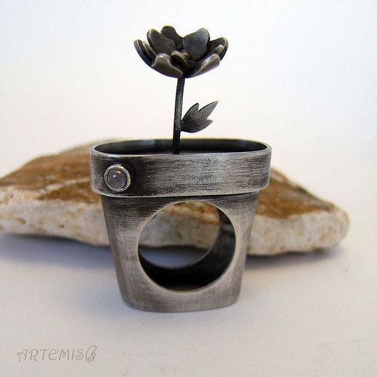 """Кольца ручной работы. Ярмарка Мастеров - ручная работа. Купить Серебряное кольцо """"Комнатное растение"""". Handmade. Серебряный, горшок"""
