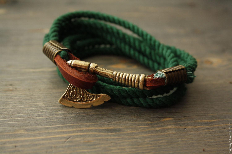 Bracelet With Axe Cotton Men Viking