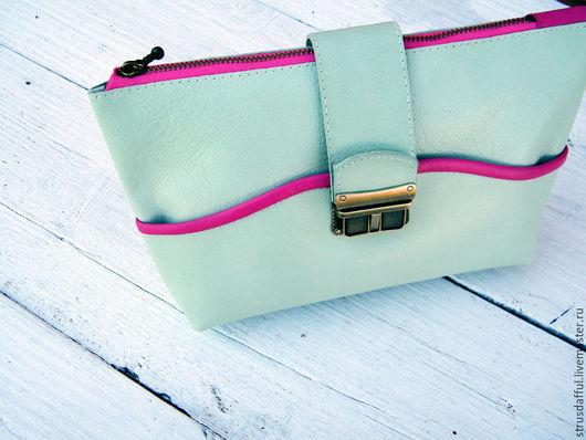 мятная сумка из натуральной кожи, сумка кросс-боди, сумка на плечо, сумочка-клатч для выпускного вечера,  женскую сумку купить, женская сумка кожаная, кожаная женская сумка, сумка кожа