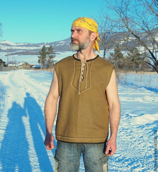 """Для мужчин, ручной работы. Ярмарка Мастеров - ручная работа. Купить Рубаха без рукавов """"Закаляйся!"""". Handmade. Хаки, любимому"""