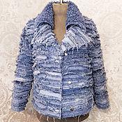Одежда handmade. Livemaster - original item Denim jacket Sheepskin coat made of denim fur women`s Jeans. Handmade.