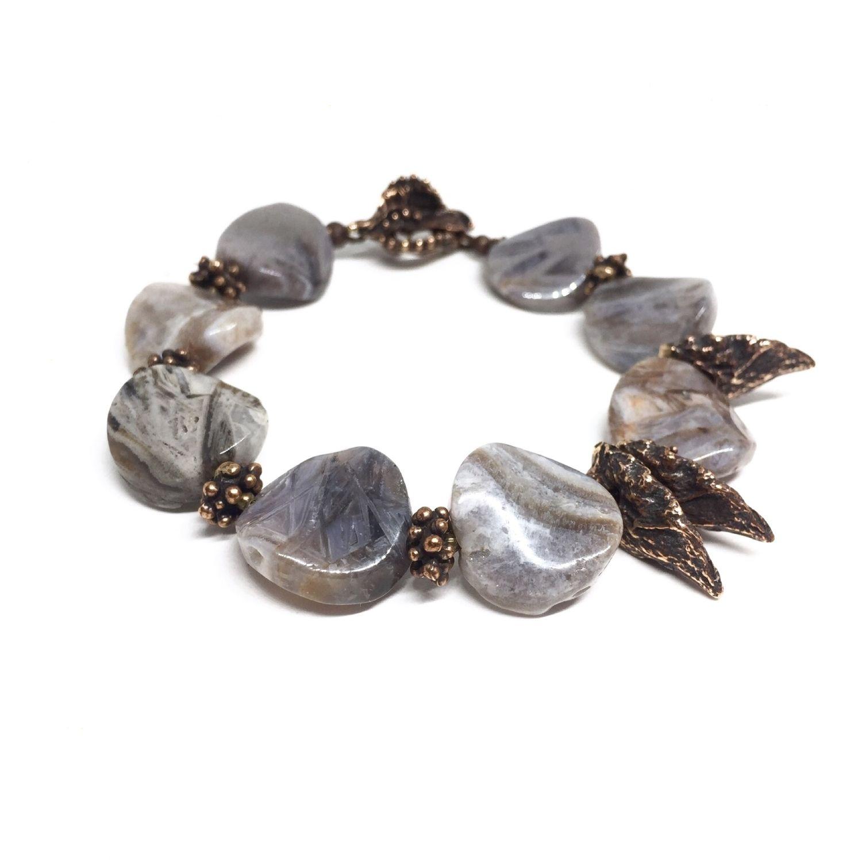 Bracelet Morning.Peter. Natural Jasper chalcedony, fittings Anna Black, Bead bracelet, Moscow,  Фото №1
