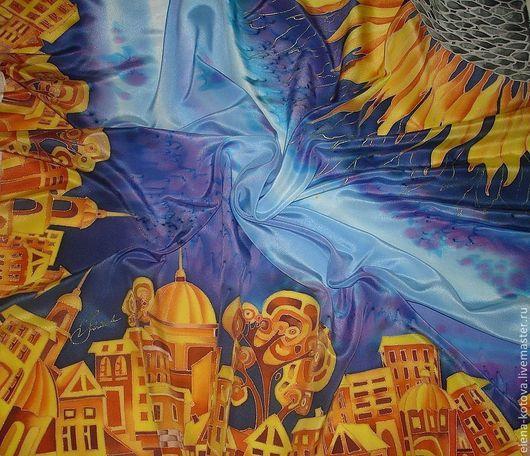 """Шали, палантины ручной работы. Ярмарка Мастеров - ручная работа. Купить Платок """"Под небом голубым есть город золотой"""". Handmade."""