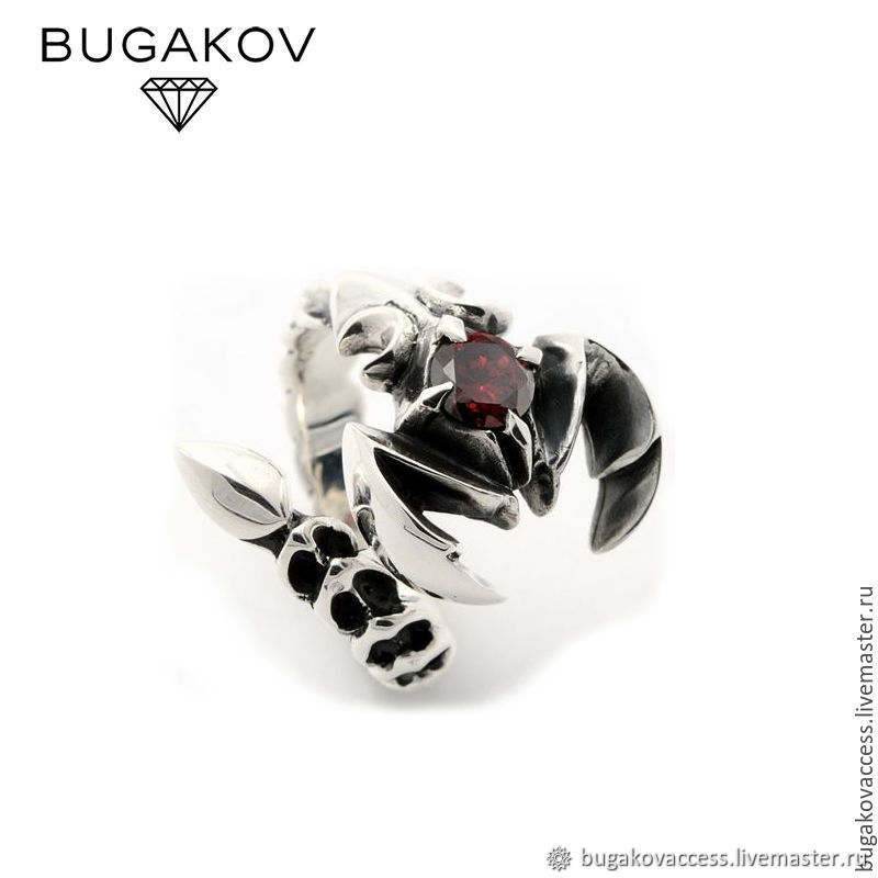 Scorpio dimensionless Ring of silver 925 with red zircon, Rings, Moscow, Фото №1