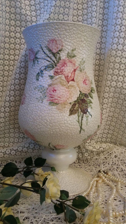 Вазы ручной работы. Стеклянная ваза Розовая нежность