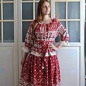 Платья ручной работы. Ярмарка Мастеров - ручная работа Платье красное льняное длинное Голубушка. Handmade.