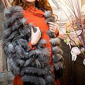 Аксессуары ручной работы. Ярмарка Мастеров - ручная работа Палантин из меха серебристо-черной лисы ШТ42. Handmade.