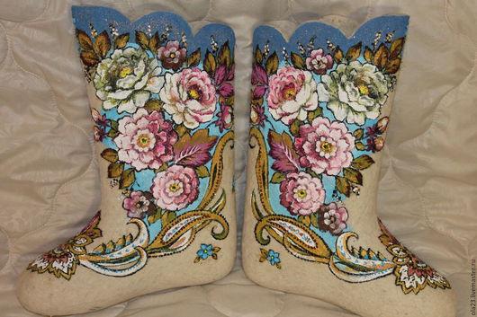 Обувь ручной работы. Ярмарка Мастеров - ручная работа. Купить ИМЕНИННИЦА. Handmade. Белый, валенки, именины, шаль