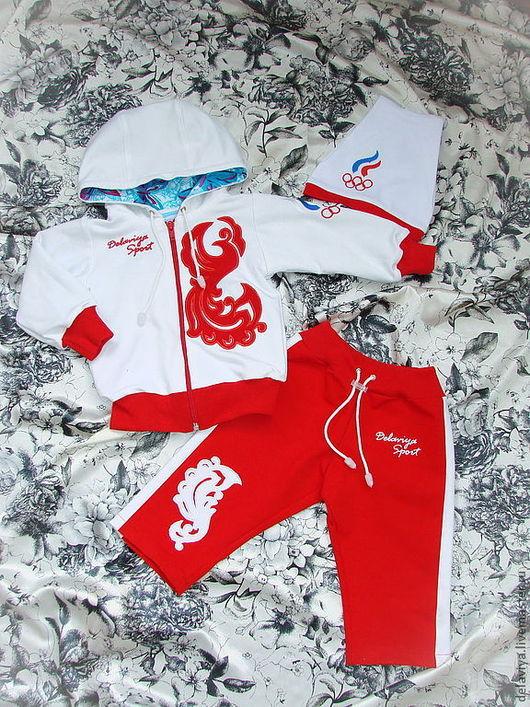 """Одежда для девочек, ручной работы. Ярмарка Мастеров - ручная работа. Купить Костюм спортивный """"Олимпик""""-2 с капюшоном от Делавьи. Handmade."""