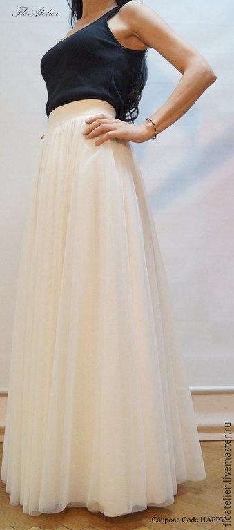 Юбки ручной работы. Ярмарка Мастеров - ручная работа. Купить Женская юбка из тюля/ Свадьбная юбка/ F1135. Handmade. Белый