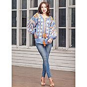Одежда handmade. Livemaster - original item Blouse linen ethnic embroidery women`s shirt Blue -50%. Handmade.