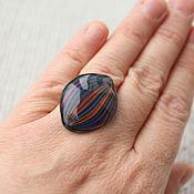 Украшения ручной работы. Ярмарка Мастеров - ручная работа Синее кольцо в рыжую полоску. Handmade.