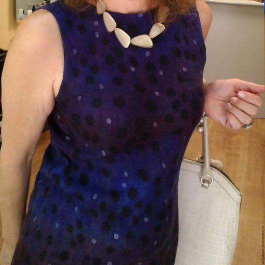 Валяное платье `Черничное` ручной работ. Ярмарка Мастеров-ручная работа.Nunofelting.Handmade.