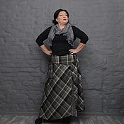Одежда handmade. Livemaster - original item Skirt plaid greenish on the yoke and front slit. Art.1554. Handmade.