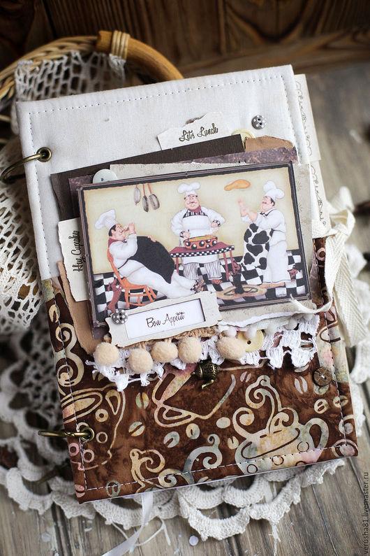 """Кулинарные книги ручной работы. Ярмарка Мастеров - ручная работа. Купить Книга для рецептов """"Друзья кулинары"""". Handmade. Коричневый, кофе"""