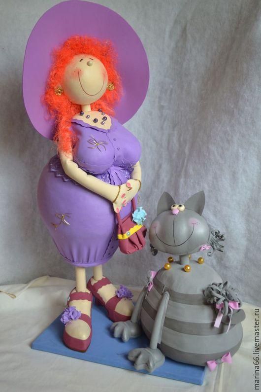 """Портретные куклы ручной работы. Ярмарка Мастеров - ручная работа. Купить Кукла """"Толстушка с кошкой""""Фоамиран,пенопласт. Handmade. Фоамиран для кукол"""