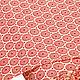 Ткань немецкий хлопок `Ретро круги` (красный/бежевый)