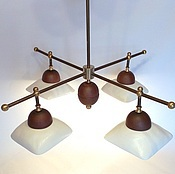 Для дома и интерьера handmade. Livemaster - original item Ceramic chandelier with four shades and brass frame.. Handmade.
