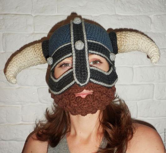 Шапки ручной работы. Ярмарка Мастеров - ручная работа. Купить Шапка шлем Викинг с курчавой бородой. Handmade. Серый