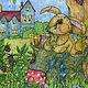 Детская ручной работы. Принт Плюшевый кролик. Возле дома. Авторская картина для детской. Добрые акварели (yovin). Ярмарка Мастеров.