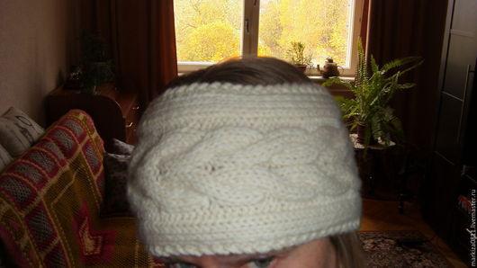 """Повязки ручной работы. Ярмарка Мастеров - ручная работа. Купить вязаная повязка на голову  с узором """"колосок"""". Handmade. Белый"""