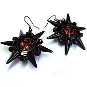 """Украшения ручной работы. Ярмарка Мастеров - ручная работа Серьги """"Rock Star"""" черные с красными кристаллами. Handmade."""