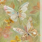 Картины и панно ручной работы. Ярмарка Мастеров - ручная работа Тресхлойная картина на шелке Изящные Бабочки. Handmade.