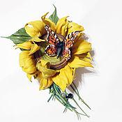 Украшения ручной работы. Ярмарка Мастеров - ручная работа Брошь Солнечный цветок. Handmade.