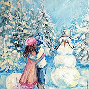 Картины и панно handmade. Livemaster - original item Oil painting on canvas. Confused snowman.. Handmade.