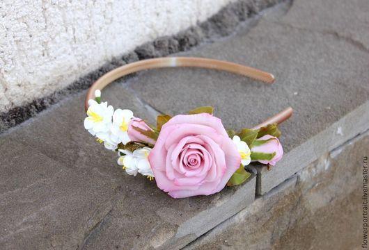 Диадемы, обручи ручной работы. Ярмарка Мастеров - ручная работа. Купить Ободок роза с жасмином. Handmade. Полимерная глина