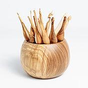Набор деревянных крючков для вязания (17 шт) + Клубочница #KN10