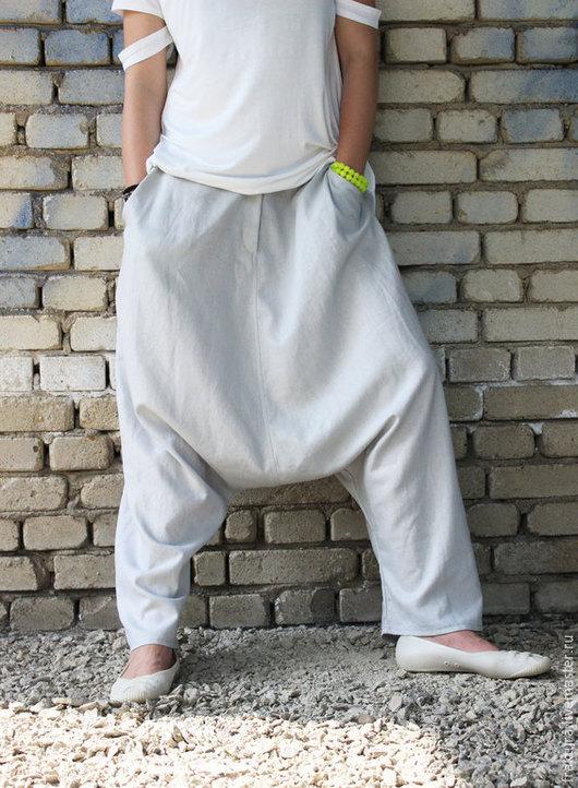Брюки, шорты ручной работы. Ярмарка Мастеров - ручная работа. Купить Льняные брюки - серые / P0005. Handmade. Серый