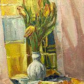 Картины и панно handmade. Livemaster - original item Spring still Life with a white vase oil on canvas 50-40 cm. Handmade.